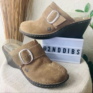 Born Suede Slip-On Wedge Clogs